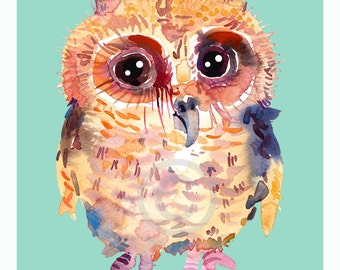Baby Owl 4 Art Print  - Size 8x10in  - Animal Watercolor  painting -  Nursery Art