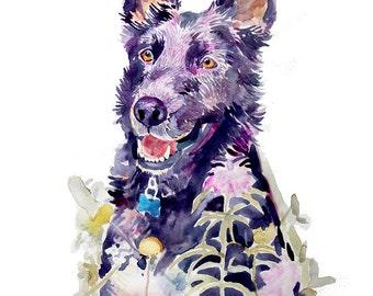 Custom Pet Portrait, Painting, Custom Portraits, Pet Portrait, Watercolor Painting - Dog Portrait