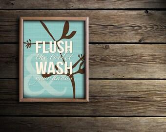 Floral Bathroom Art - Tropical Bath Prints - Tropical Bathroom Decor - Bath Wall Art - Flush the Toilet Wash Your Hands - Sea Green Bathroom