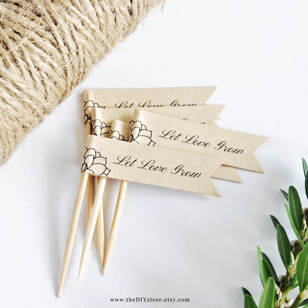 Diy Wedding Favor Tags Templates : Succulent DIY Mini Favor Flags Text Editable Template Mini