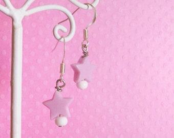 Pastel Purple Kei Star Earrings, Kawaii Decora Jewelry for Girls and Teens
