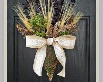 Dried Flowers On The Front Door