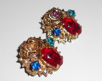 Antique Ornate vintage earrings W. Germany  in glass Ruby, Sapphire, Emerald and Amethyst Free USA Shipping