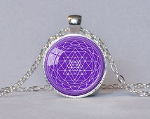 SRI YANTRA PENDANT Sacred Geometry Jewelry Sri Chakra Necklace Purple White Buddhist Jewelry Meditation Necklace Yoga Gift Reiki Gift