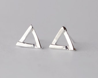 925 Sterling Silver Triangle Simple Silver Stud Earrings 219