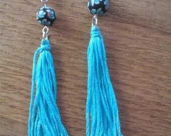 Ibiza style long dangling earrings with tassel