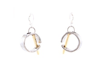Sculptural silver and gold earrings - NABILA 08 (Classique Collection)