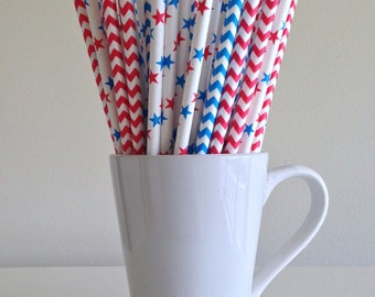 4th of July Red, White, and Blue Paper Straws Stars and Chevron July 4th Patriotic Party Supplies Party Decor Patriotic Graduation