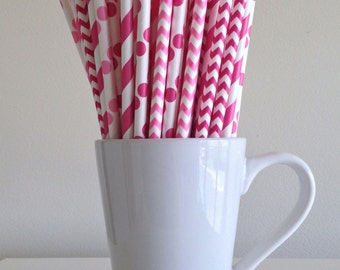 Pink Paper Straws Dark Pink and Pink Striped, Chevron, Polka Dot Party Supplies Party Decor Bar Cart Cake Pop Sticks Graduation