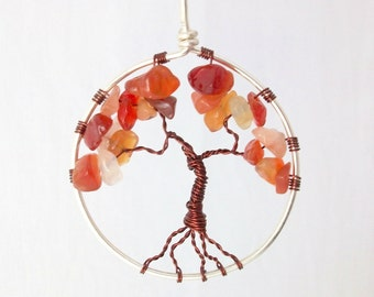 Autumn tree pendant, Sterling Silver, Carnelian tree of life necklace, Fall colors, Nature jewellery