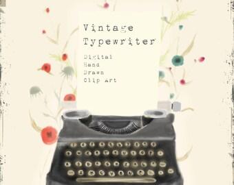 Vintage Typewriter Digital Hand Drawn Clip Art