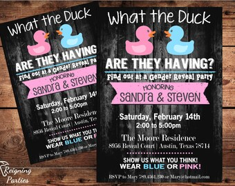 Funny Duck Gender Reveal Invitation - Rubber Duck - Team Pink or Blue - Digital