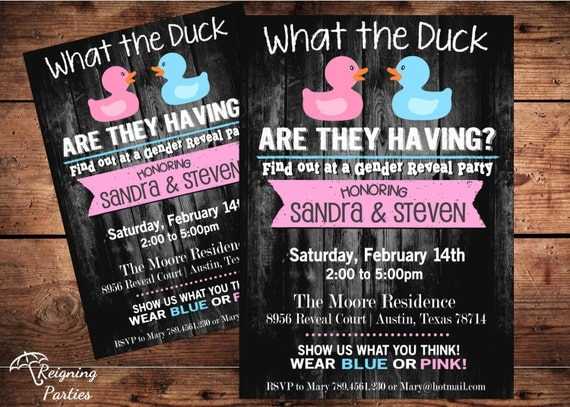Items Similar To Duck Gender Reveal Invitation Rubber