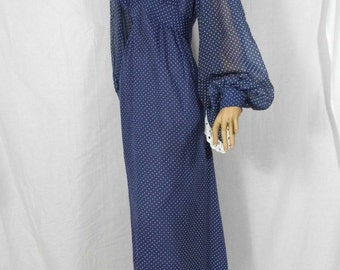 Vintage Dress 1970's Maxi Seventies Hippy Polkadot Bell Flared Sleeve Uk 10