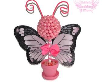Pink Butterfly Lollipop Topiary, Pink, Lollipop, Candy, Centerpiece, Baby Shower, Butterfly,Candy Buffet, Butterfly Centerpiece, Birthday