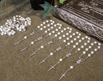 12 pcs. White Pearl Mini Rosaries for Baptism, Communion, Quinceañera or Wedding favors