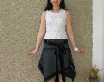Asymmetric skirt, Eco-friendly handmade clothing by EcoClo, size S-M