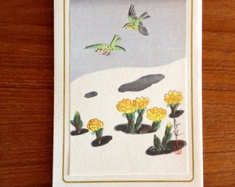 Finest Shinagawa's Japanese Color Woodblock Woodcut Block Print - Birds Over Snow