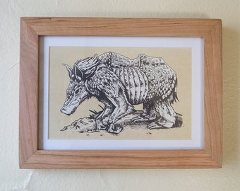 Framed Animal Print - 5x7 - Armoured Tree Hog - Handmade screenprint