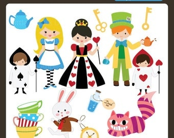 Alice in Wonderland ClipArt / Alice in Wonderland Clip Art / Mad Hatter ClipArt / Fairy Tale Clipart / Bunny Clipart
