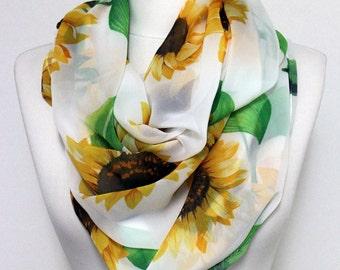 Sunflower Pattern Chiffon Infinity Scarf, Looğ Scarf, Circle Scarf, Women Scarf,  Spring - Summer - Fall Fashion