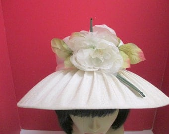 1960's Hat,  Lampshade style hat, Ivory with flowers, Mad Men Hat, Mid Century Hat