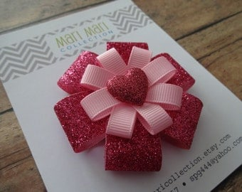 Valentine's Day Hair Accessory - Pink Glitter Heart - Heart Hair Clip - Heart Hair Accessory - Heart Glitter Bow - Pink Glitter Heart Bow