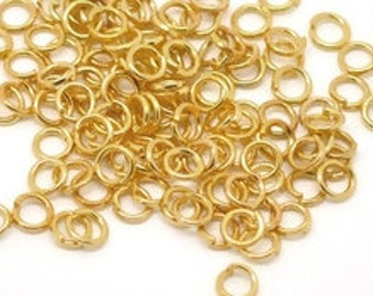 BULK - Gold open rings -  Gold Plate jump rings- Gold Findings - 4mm - Jewelry making supplies -OR04