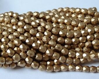 4mm Czech Glass Fire Polish Bead Silky Gold 50 Pieces