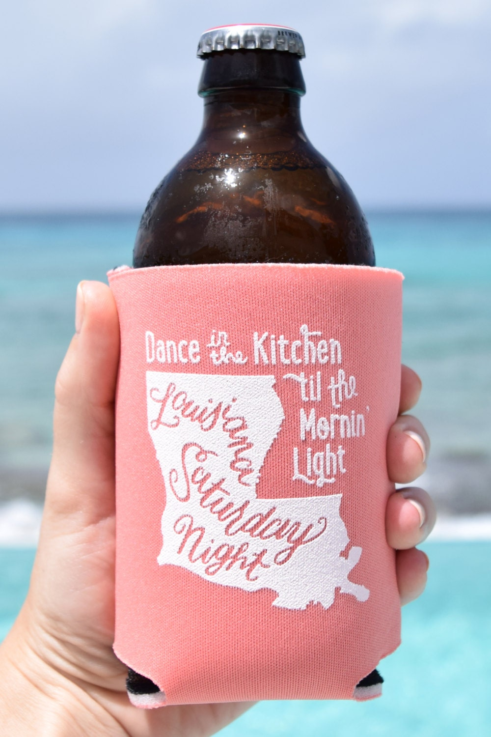Louisiana Saturday Night Can Cooler Beer Cozy In Coral
