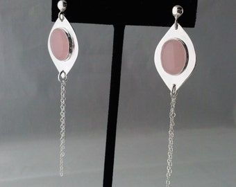 Rose Quartz  Earrings, Handmade with Sterling Silver Drop Base, Pink Oval Quartz, 50 mm Chain, Statement, Cocktail. Chandelier Earrings