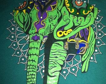 Elephant Tshirt Glow Hand Painted Mandala Custom. Free Shipping