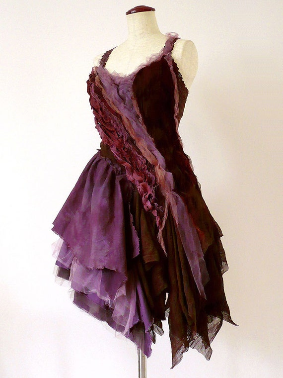 Items similar to prom wedding post apocalyptic plum brown for Post wedding party dress