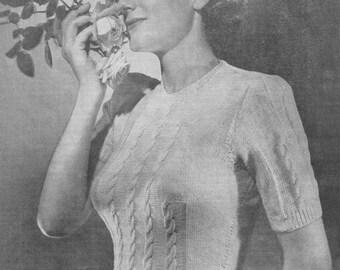 1940s Knitting Pattern for Womens Cable Jumper / Sweater Short Sleeve - Nedda - Digital PDF