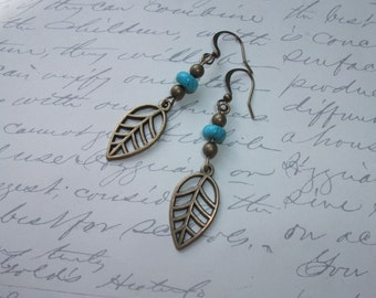 Antique brass leaf and turquoise earrings