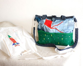 Summer shoulder bag with handles and kite subject with field  and embroided flowers, OOAK