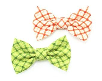 Green Plaid Dog Bow Tie, Orange Plaid Cat Bow Tie, Cream Dog Bowtie, Fall Bowtie
