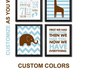 baby boy nursery decor with stats elephant giraffe, safari birth announcement wall art, safari baby nursery, birth date print, birth stats