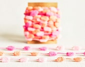 SALE Mini Pom Pom Garland in Pink & Orange - 4 Yards - Valentines Baby Novelty Twine Vintage Ribbon Trim Pompom Petite Pretty Party Decor