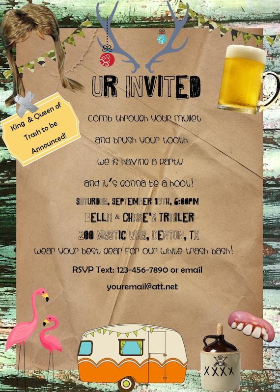 white trash bash redneck party Invitation Birthday Party – Redneck Party Invitations
