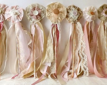 Wedding Flower Wands, Set of 12, Flower Girl or Bridesmaid Bouquet Alternative, Country Chic Party Favors, Boho Bridal Table Photo Prop