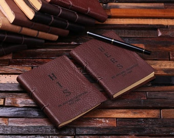 2 Engraved Personalized Wedding Gift Set His and Her Monogrammed Personalized Journals (024417)