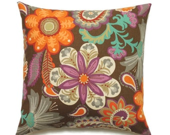 Brown And Orange Pillow Cover, 18x18 Pillow Cover, Decorative Pillows,  Accent Sofa Pillow
