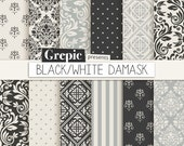 "Black / gray damask digital paper: ""BLACK / WHITE DAMASK"" digital paper pack with black, white and gray damask backgrounds"