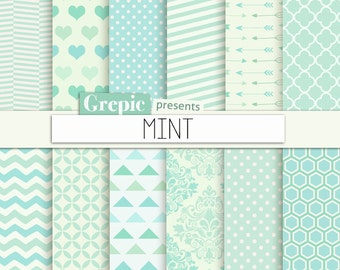 """Mint digital paper: """"MINT"""" mint green digital paper with chevron, polkadots, stripes, dots, arrows, damask, triangles, quatrefoil, hearts"""