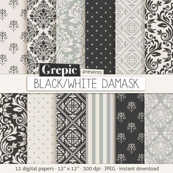 Negro gris papel digital damasco paquete de papel digital - Papel de pared blanco y negro ...