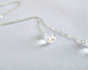 Clear Swarovski Crystal Sterling Silver Lariat Necklace - Handmade Jewelry - Bridal Necklace - Bridesmaid Necklace - Minimalist Jewelry