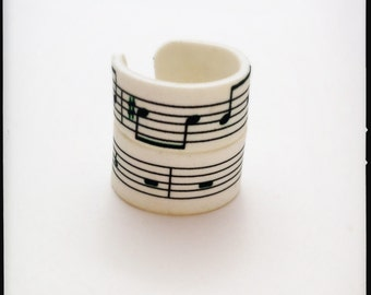 B&W Stackable Musical Notes Ring Set - Upcycled Shrink Film Ring - Handmade Custom Unisex Ring