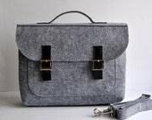 """SALE !! 15"""" Felt leather laptop bag briefcase 15 MacBook Pro laptop, urban felt bag, Common Laptop Leather Felt laptop bag briefcase"""