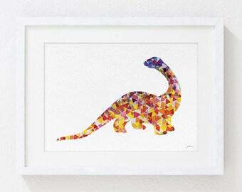 Geometric Dinosaur - Watercolor Painting - 5x7 Archival Print - Yellow, Orange, Red, Blue - Patagosaurus Dinosaur Art Print, Animals, Gifts